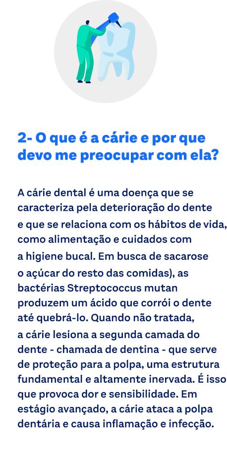 O que é a cárie e por que devo me preocupar com ela? A cárie dental é uma doença que se caracteriza pela deterioração do dente e que se relaciona com os hábitos de vida, como alimentação e cuidados com a higiene bucal. Em busca de sacarose (o açúcar do resto das comidas), as bactérias Streptococcus mutan produzem um ácido que corrói o dente até quebrá-lo. Quando não tratada, a cárie lesiona a segunda camada do dente – chamada de dentina –, que serve de proteção para a polpa, uma estrutura fundamental e altamente inervada. É isso que provoca dor e sensibilidade. Em estágio avançado, a cárie ataca a polpa dentária e causa inflamação e infecção.